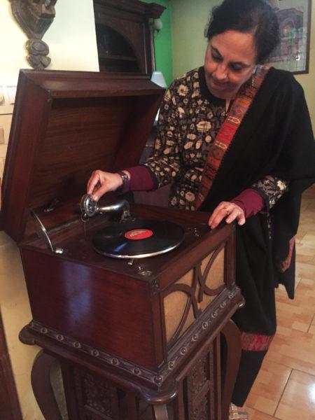 Bela Kapoor with her nana's gramophone