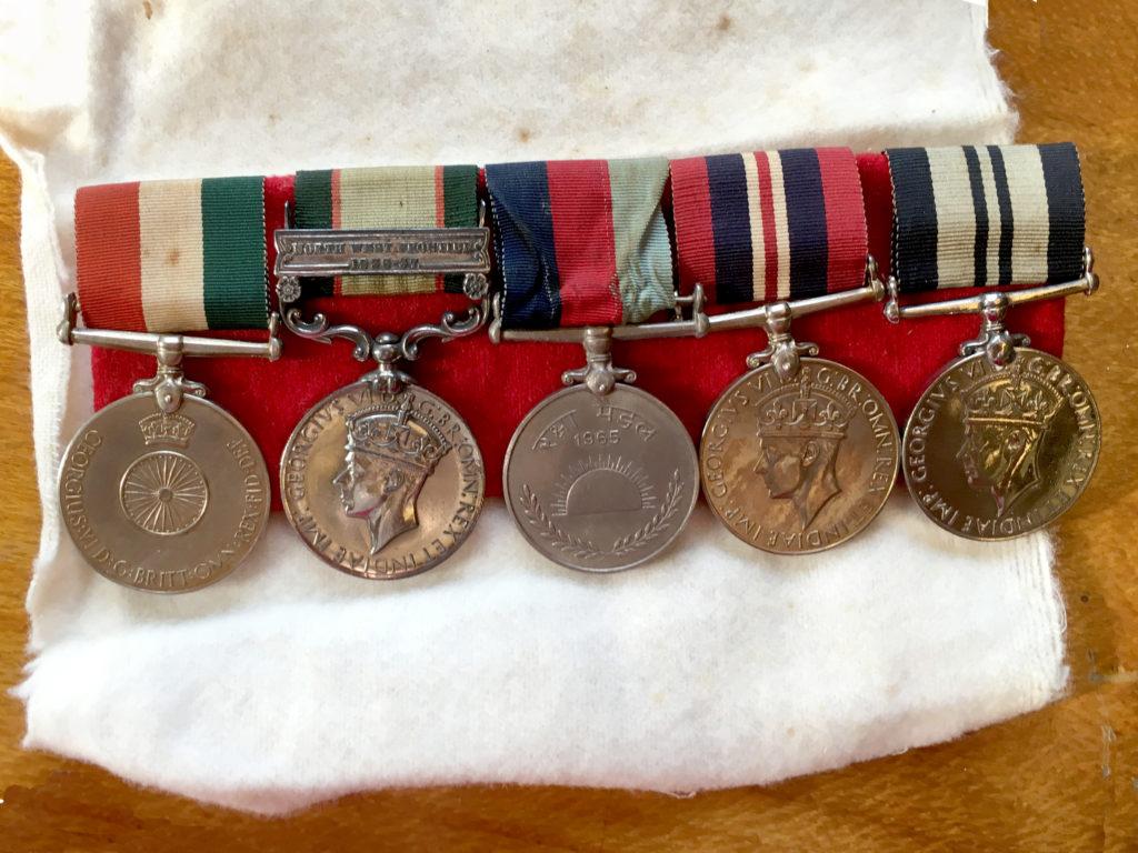 From L-R : Indian Independence Medal (1947), India General Service Medal (1936-37), India 'Raksha' Medal (1965), the War Medal (1939-1945), India Service Medal (1939-1945)