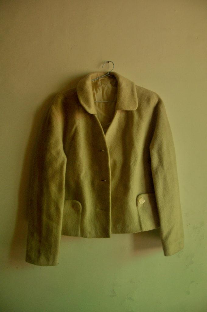 A cream coloured winter coat belonging to Leelawati Singh