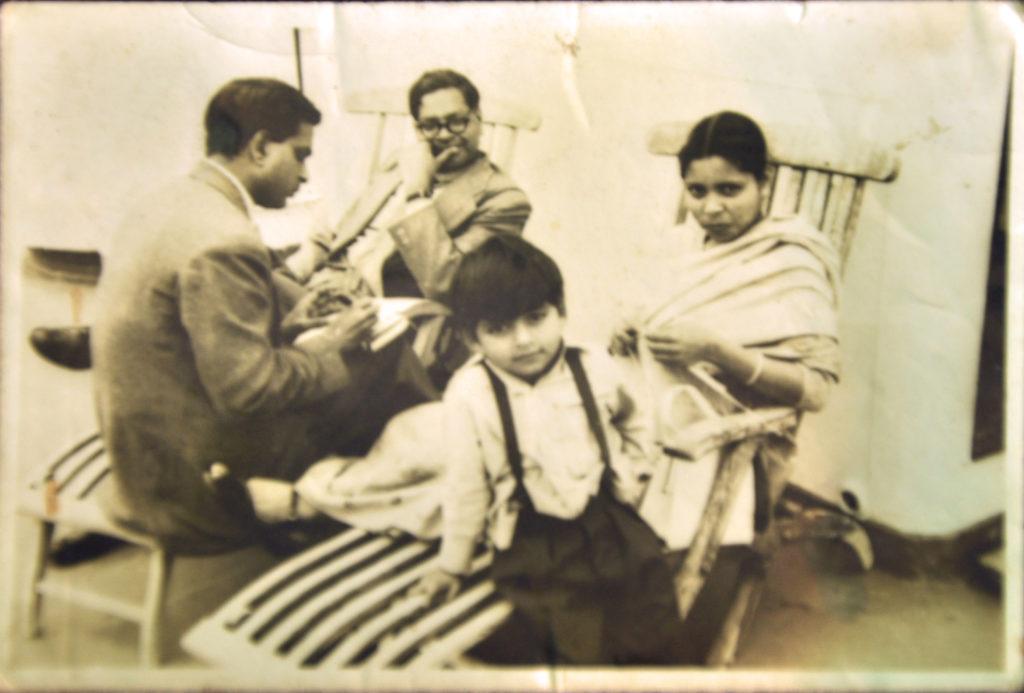 L-R- Bhanu Pratap Singh, a friend, Leelawati Singh and their son, Anup Singh