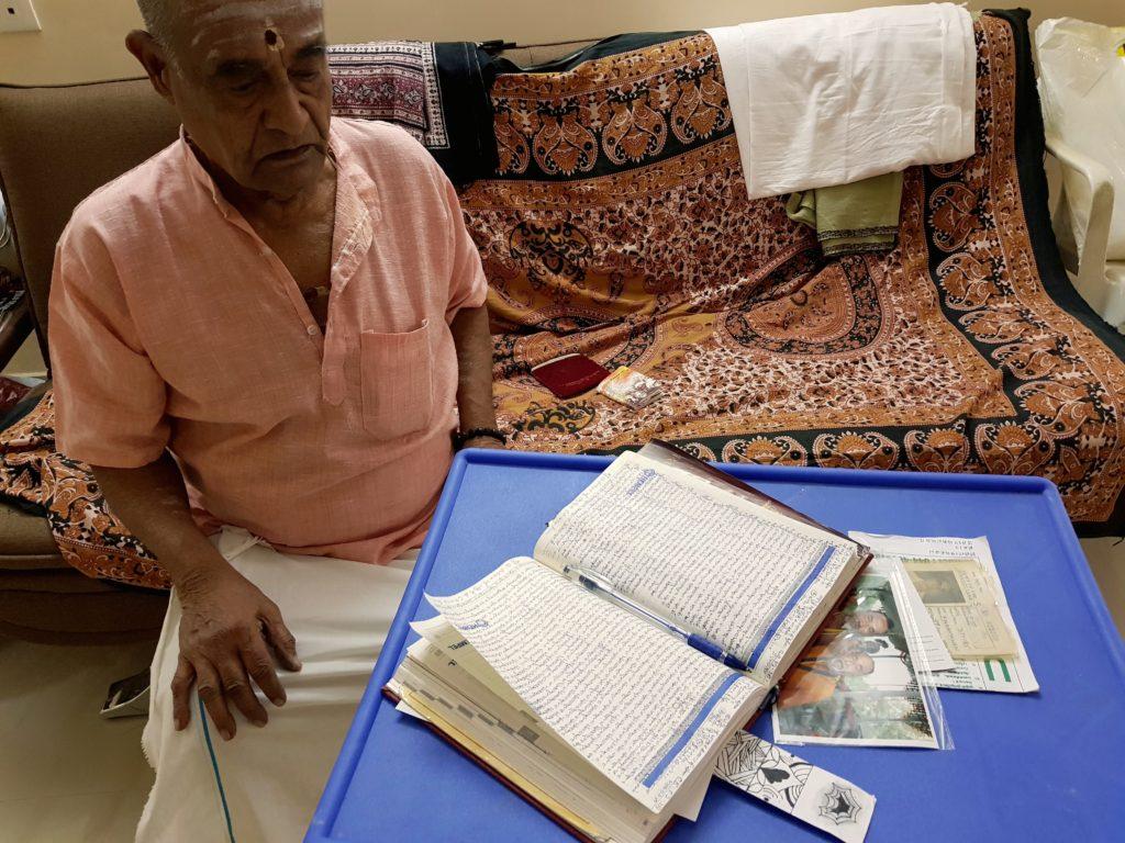 Yegnarama Narayanan looking over the day's work in Mylapore, Chennai.