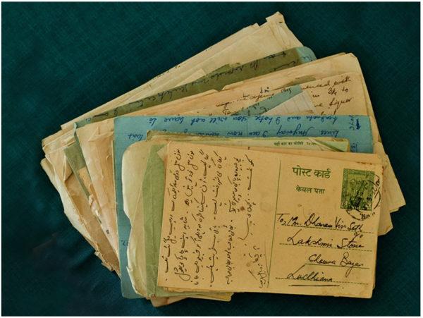 A pile of letters belonging to Dharam Vir Seth
