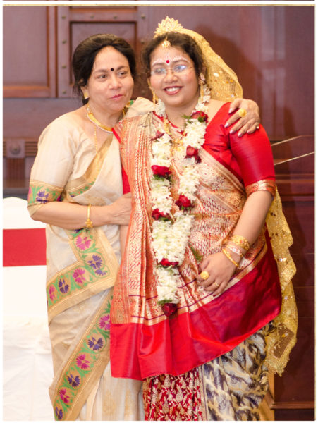 Tanjima Kar Sekh, wearing the gold bracelet on her wedding day.